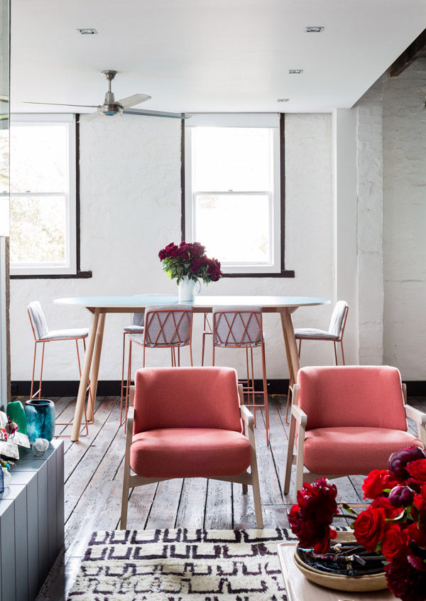 Jardan armchairs Design Files open house Sydney Australia pink living room rug