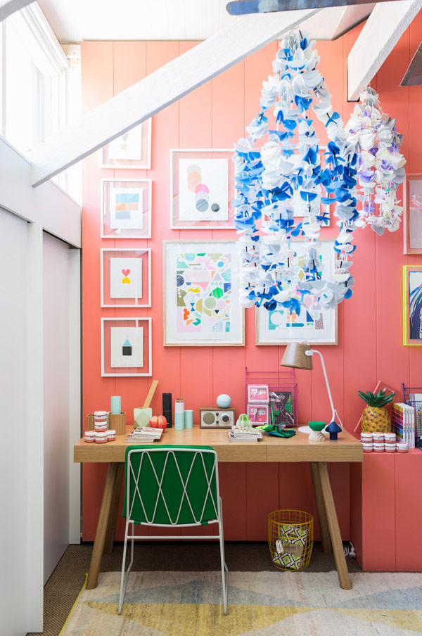 Pink artwork desk office kids' room interior design Design Files open house