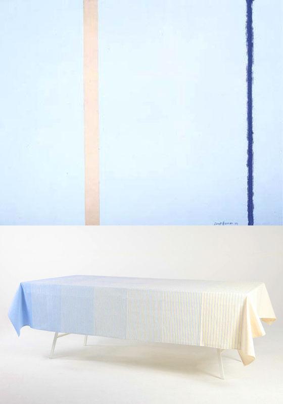 Barnett Newman zips blue cotton tablecloth gift guide art