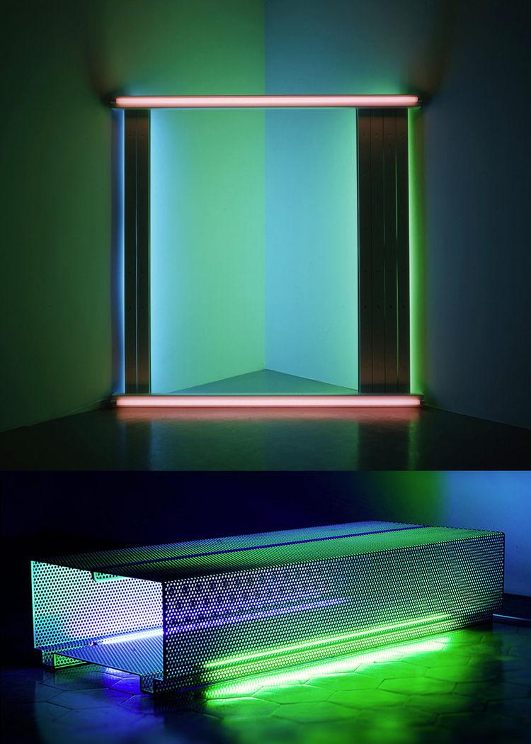 neon art Dan Flavin bench minimalism Johanna Grawunder gift guide