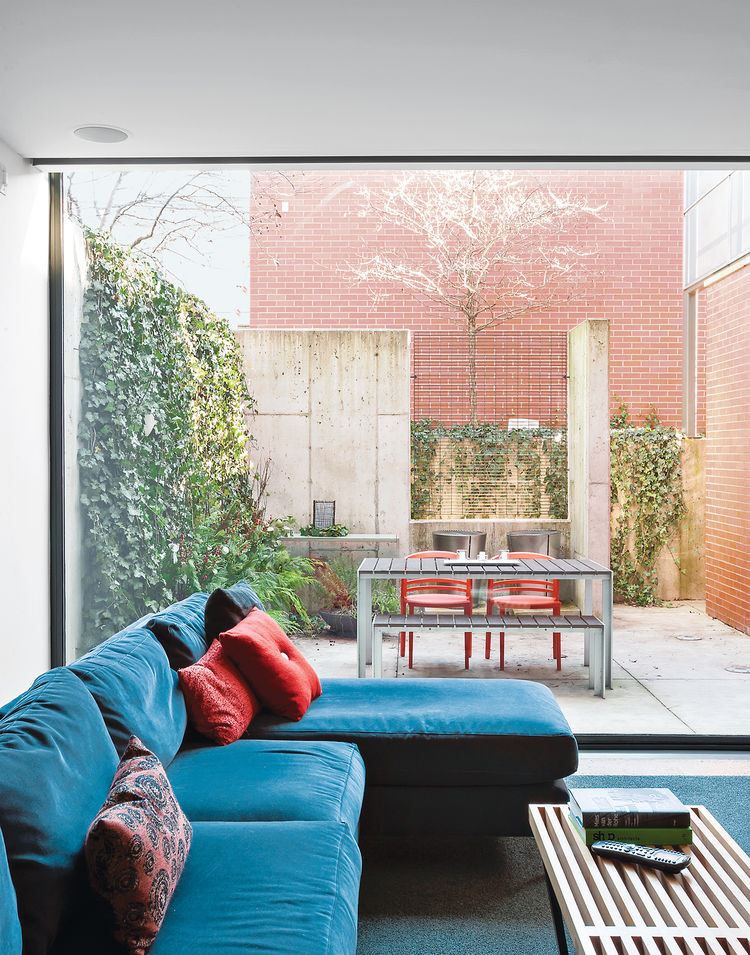 brick-clad home renovation Chicago interior living room