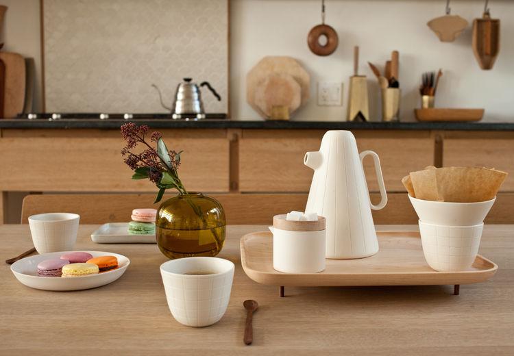 Mjölk Toronto Luca Nichetto ceramic wood tabletop coffee set