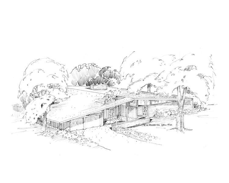 Harwood Hills sketch by Ralph Fournier, midcentury modern, St. Louis