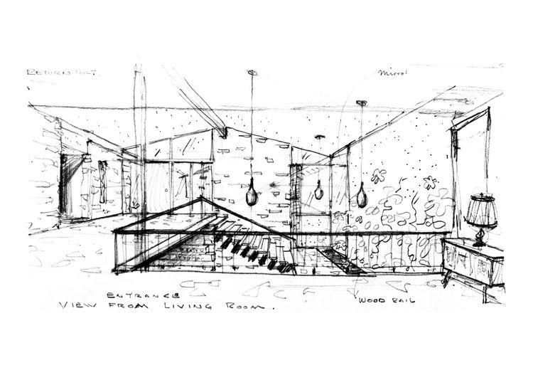 Interior sketch, Ralph Fournier, midcentury modern, St. Louis