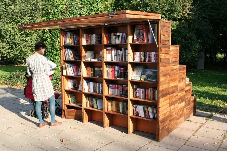 woman, reading, bookshelf, wood, steps