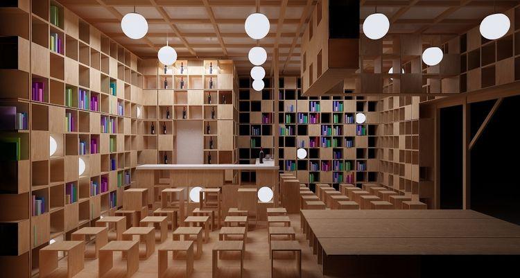 wine, lights, bar, shelves, books