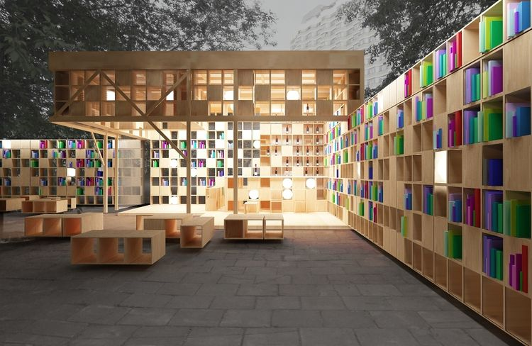 library, outdoor, wood, lights