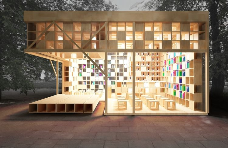 lights, books, wood, shelves, benches