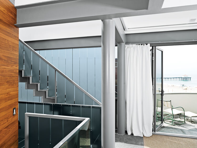 renovated Ray Kappe bungalow in Manhattan Beach interior corridor
