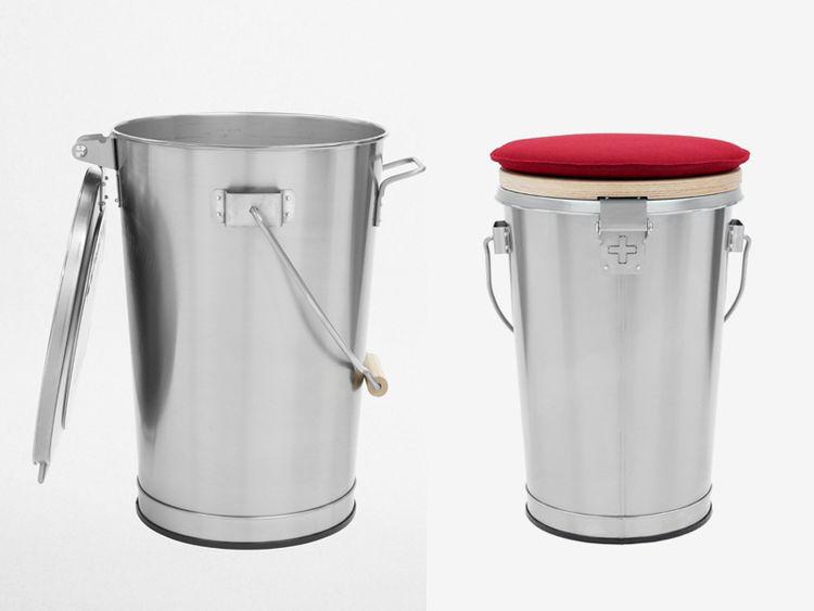 Stainless steel Swiss design Patent Ochsner trash can garbage rubbish bin