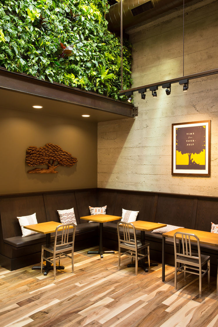aluminum navy chairs by emeco and living wall in peet's san francisco flagship