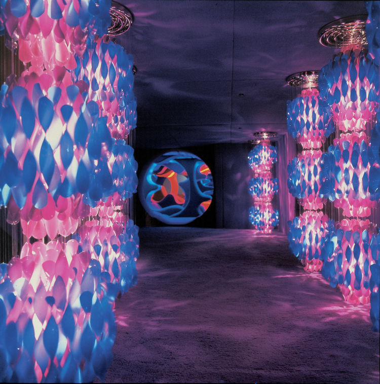 "Spiral lights (1969, produced by Lübner) ""Phantasy Landscape,"" Visiona 2, IMM Cologne Furniture Fair, 1970 © Panton Design, Basel"