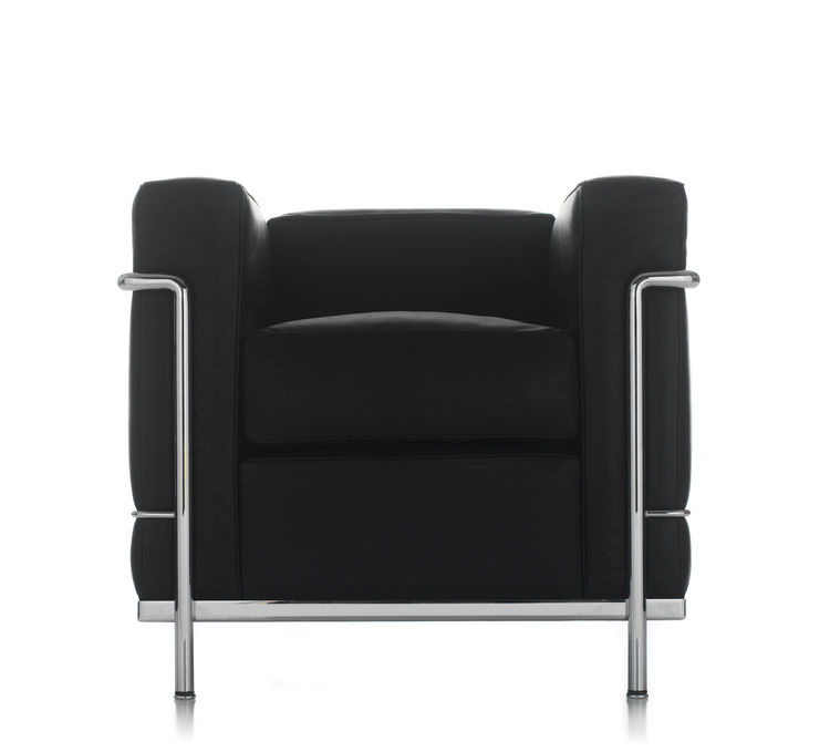 Black leather and tubular steel Grand Confort Armchair