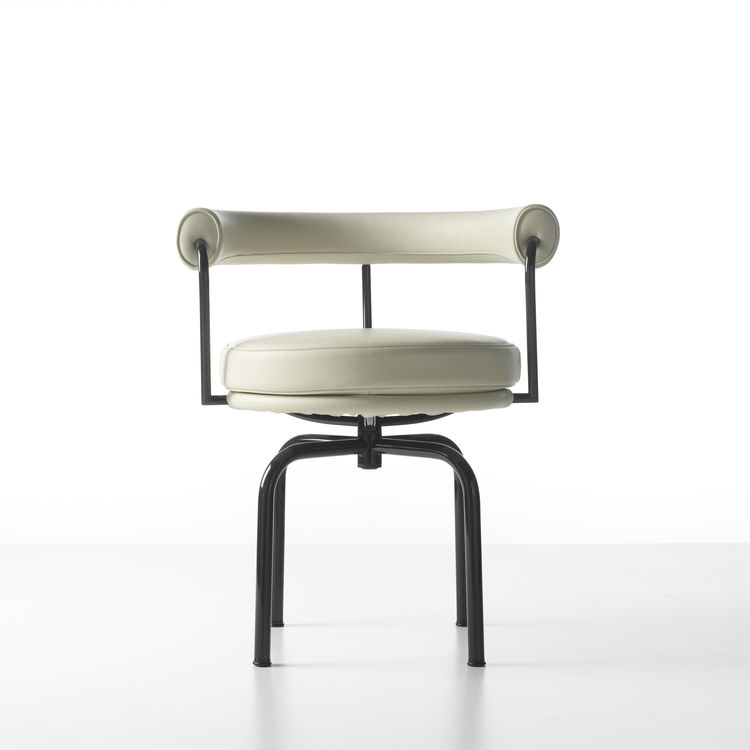 cassina charlotte perriand swivel chair in white leather