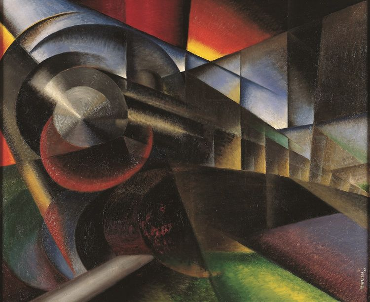 Ivo Pannaggi's Speeding Train from Guggenheim's Italian Futurism Exhibit