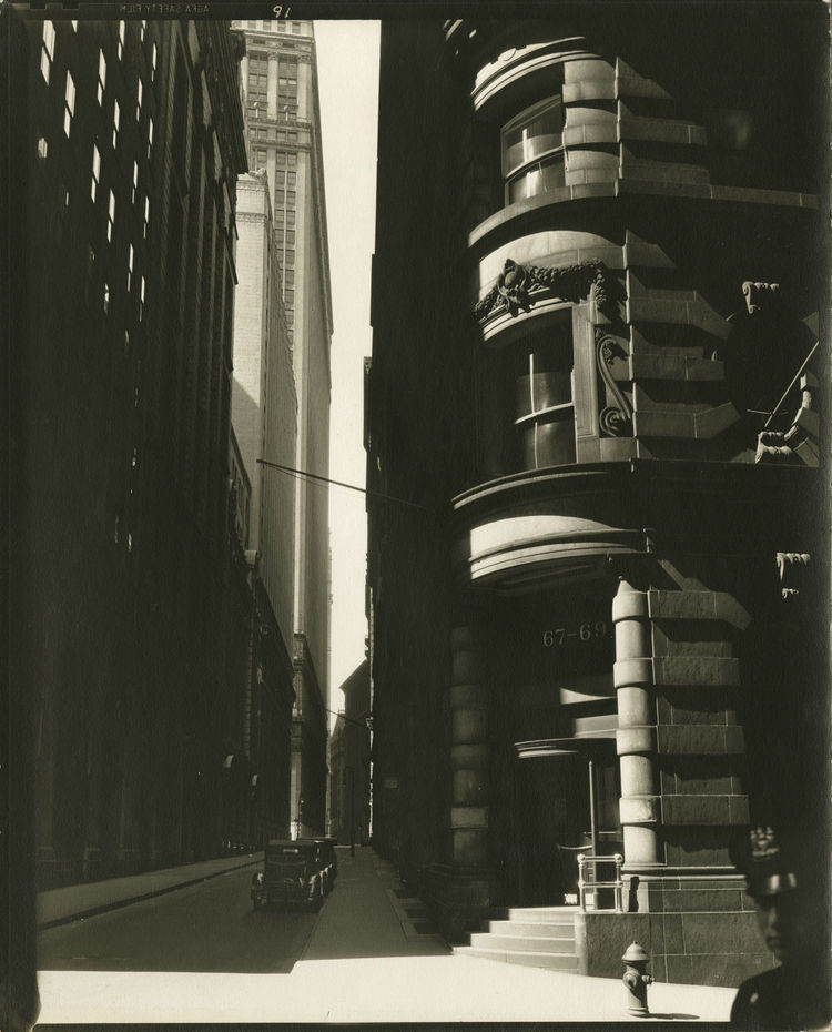 Berenice Abbott -- Cedar Street from William Street, Manhattan, March 26, 1936