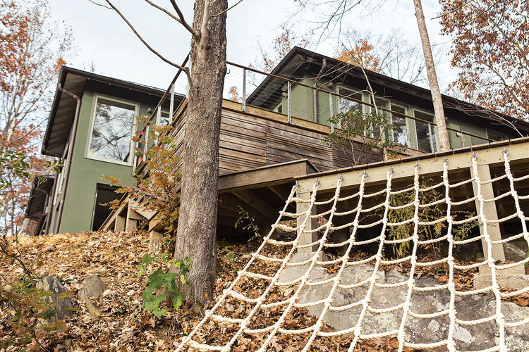 modern backyard playground rope pie wood deck