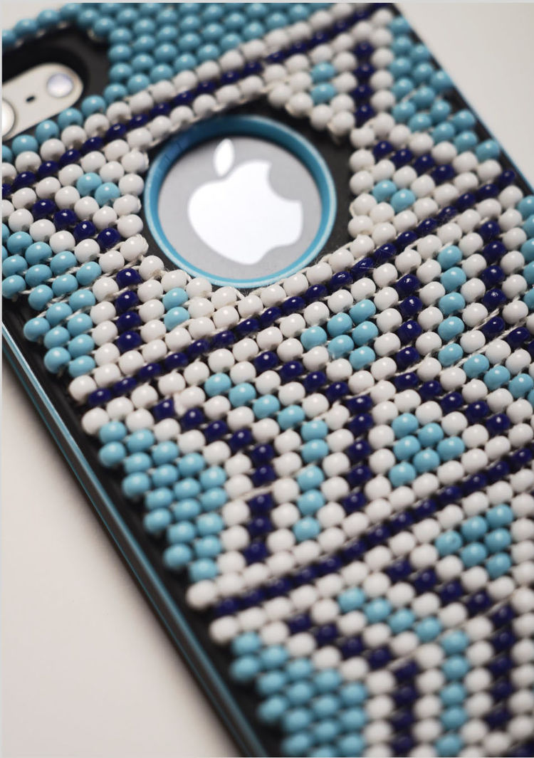 blue and white beaded decorative iPhone case