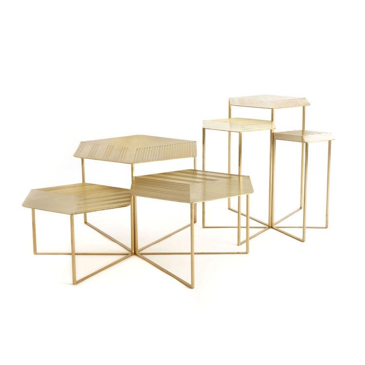brass modern hexagon tables