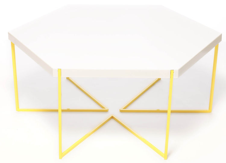 outdoor hexagon table with yellow legs by Nine6
