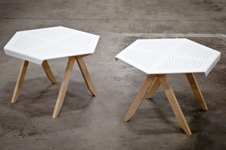 wood and plastic hexagon side table by Jonathan Dorthe