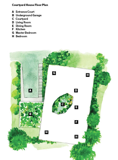 site plan for courtyard house by andrew heid