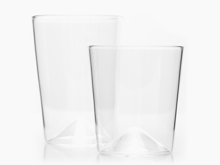two glasses with cone-shaped bases