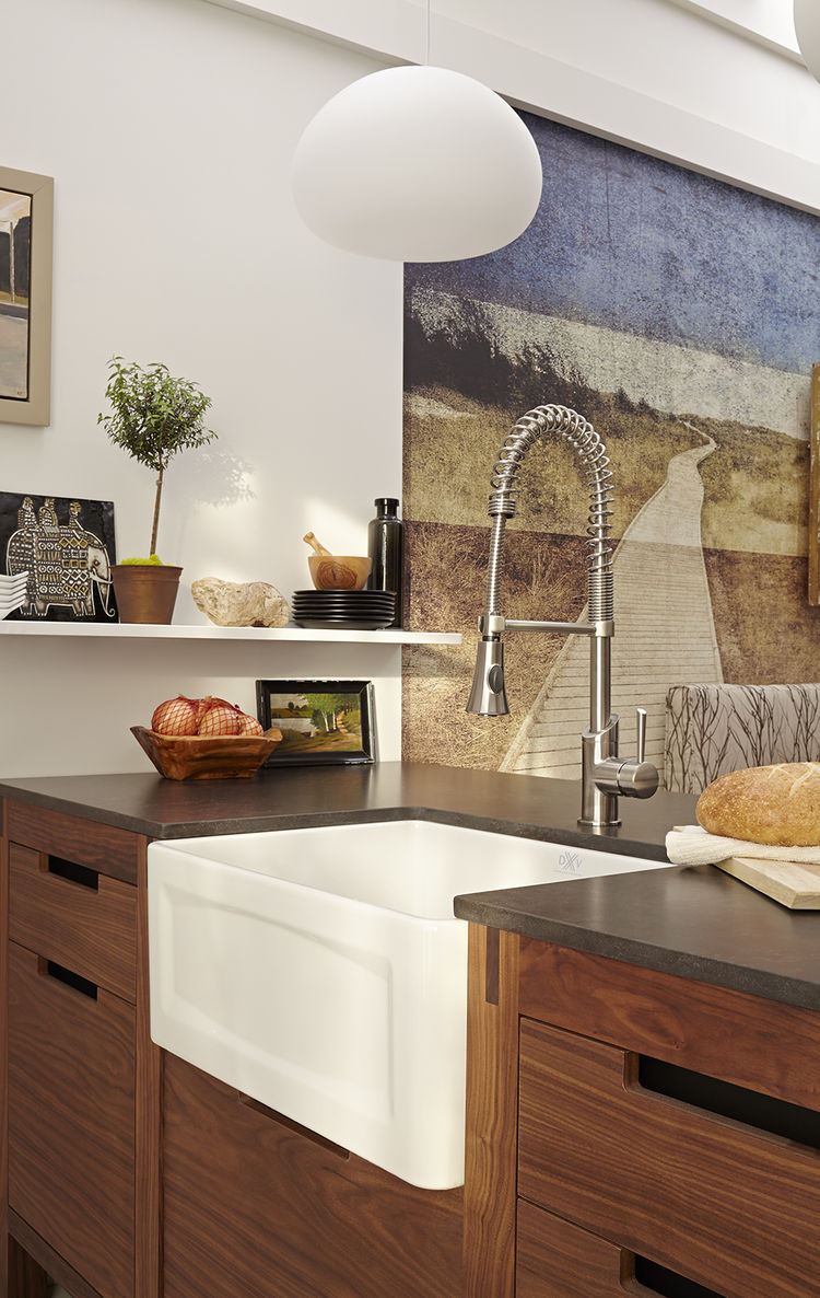 white apron-front sink by american standard