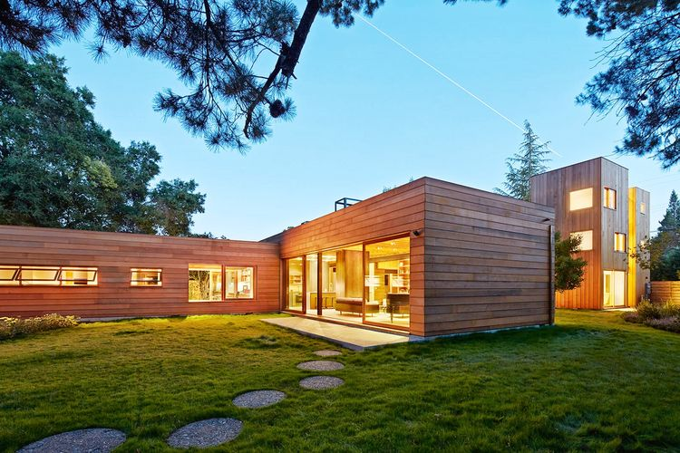green sustainable residence night exterior