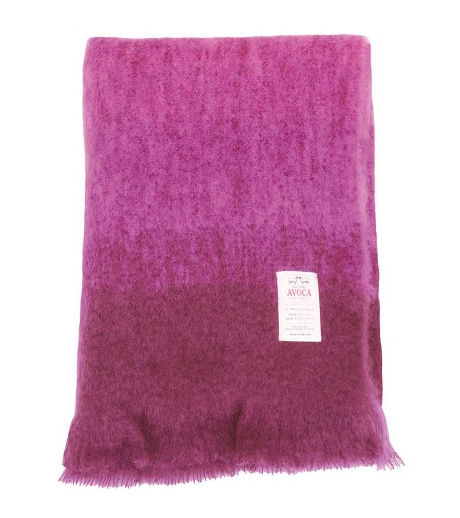 a wool and mohair throw in many shades of purple