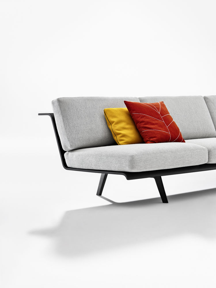 long gray sofa