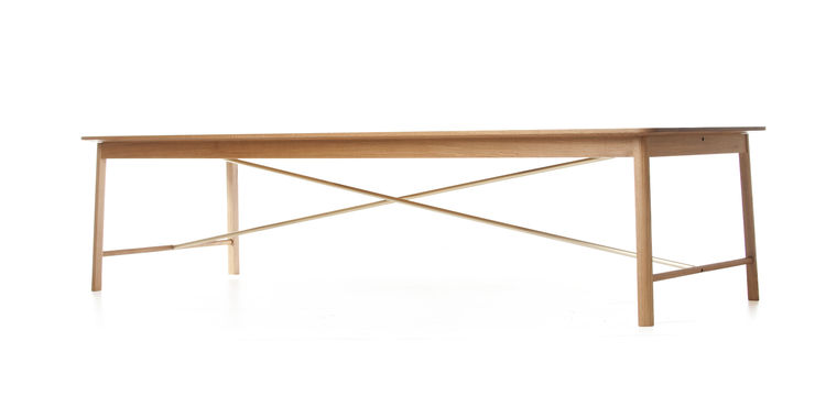 Flatiron Dining Table with Solid Brass Stretchers by Soren Rose for De La Espada