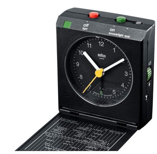 a black plastic travel clock