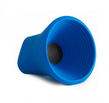 a small portable plastic blue speaker