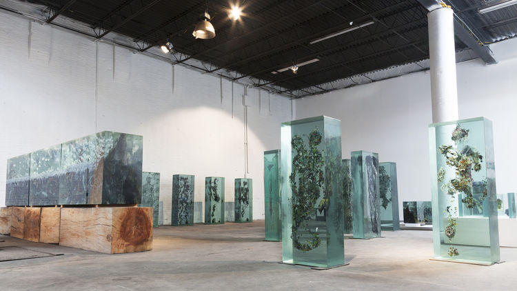 Dustin Yellin glass sculptures magazines