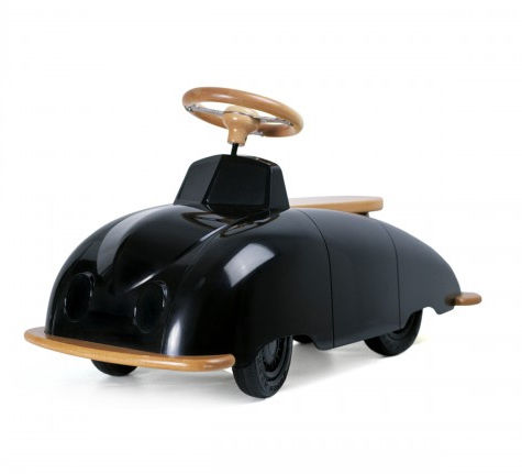 a plastic, metal and wood toy car