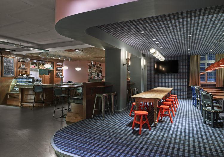 Generator London cafe plaid hostel