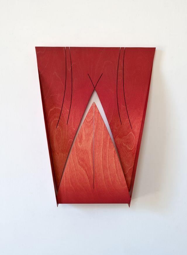 Matt Paweski red plywood sculpture studio visit Los Angeles
