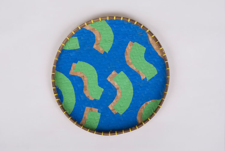 pattern study blue and green woven tray by field experiments