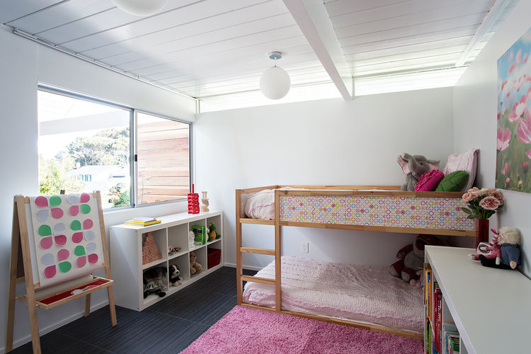 burlingame eichler girls bedroom with wainscoting ceiling