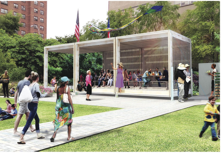 A sustainable modular shelter for a Bronx community garden.