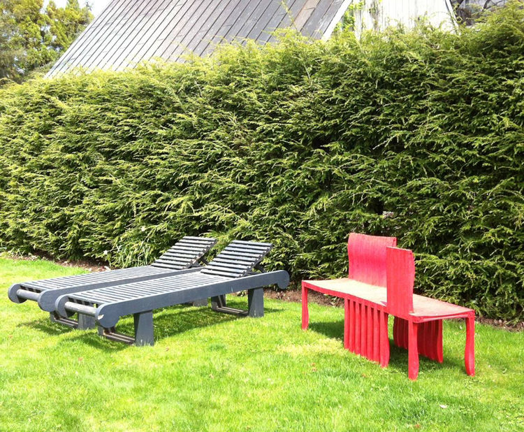 Artek Shigeru Ban red outdoor furniture at LongHouse Reserve