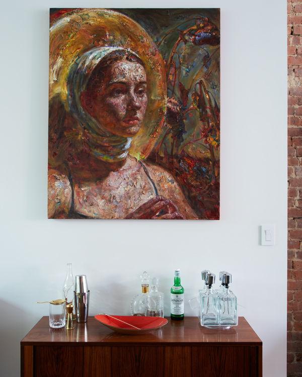 williamsburg renovation bar and painting