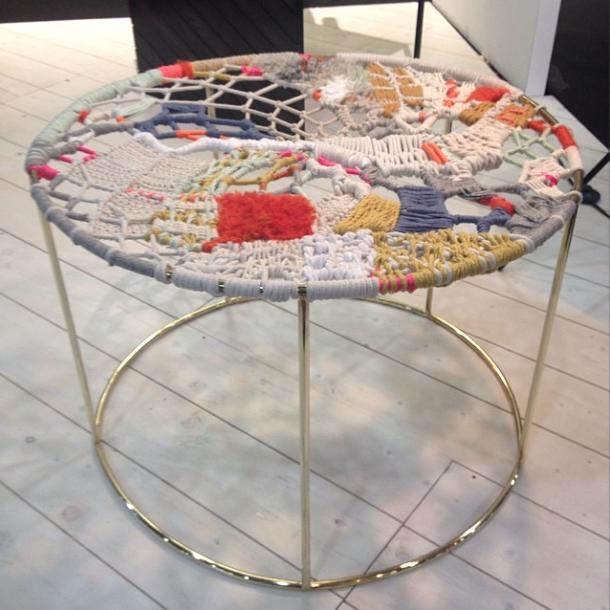 hinterland design knit crochet table and ottoman