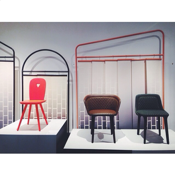 casamania chairs and graphic backdrop by luca nichetto at icff