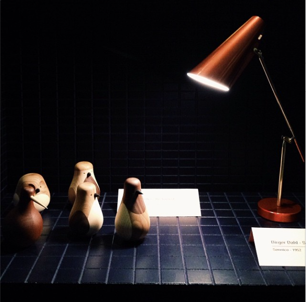 lamp and wooden birds by norwegian designers at icff