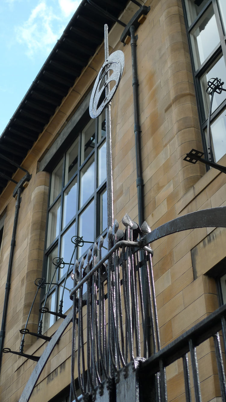 decorative metalwork surrounding the glasgow school of art