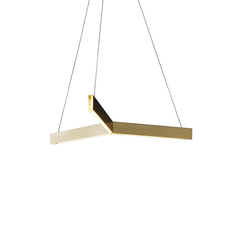 Brass pendant light comprised of three intersecting channels and LED strips