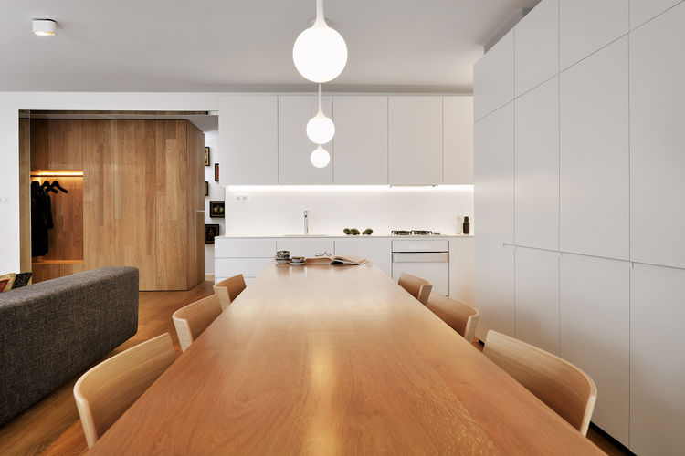 dining room in renovated slovenia apartment