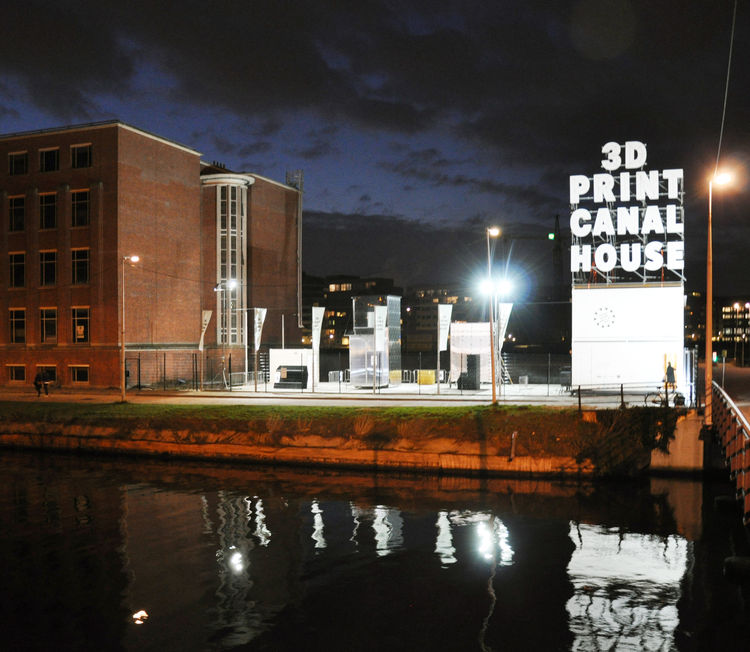 3-d printed canal house at night